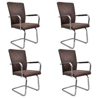 3052993 vidaXL Cantilever Dining Chairs 4 pcs Brown Faux Suede Leather