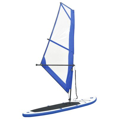 vidaXL Inflatable Stand Up Paddleboard with Sail Set Blue and White
