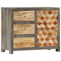 "vidaXL Side Cabinet Gray 29.5""x11.8""x23.6"" Solid Mango Wood"