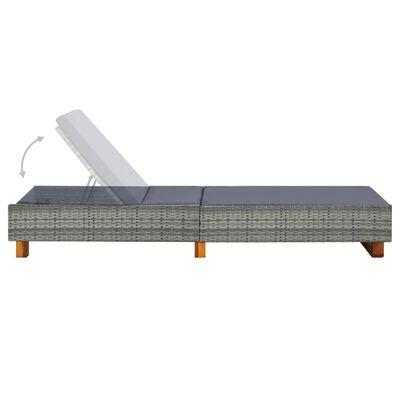 vidaXL Sunbed with Cushion Poly Rattan Gray