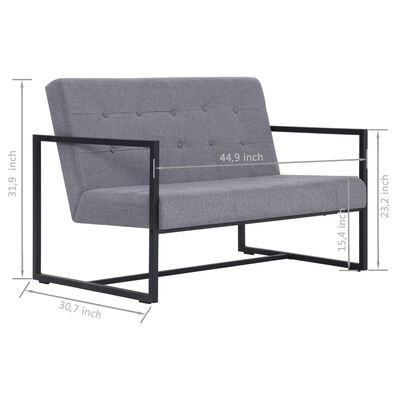 vidaXL 2-Seater Sofa with Armrests Light Gray Steel and Fabric