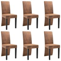 vidaXL Dining Chairs 6 pcs Brown Faux Suede Leather