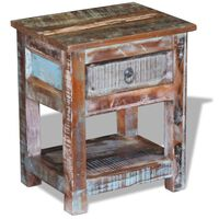 """vidaXL Side Table with 1 Drawer Solid Reclaimed Wood 17""""x13""""x20"""""""