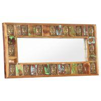 "vidaXL Mirror with Buddha Cladding 43.3""x19.7"" Solid Reclaimed Wood"