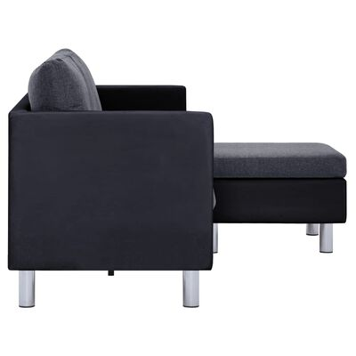 vidaXL 3-Seater Sofa with Cushions Black Faux Leather