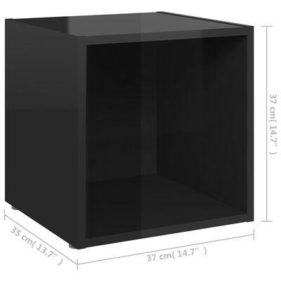 "vidaXL TV Cabinet High Gloss Black 14.6""x13.8""x14.6"" Chipboard"