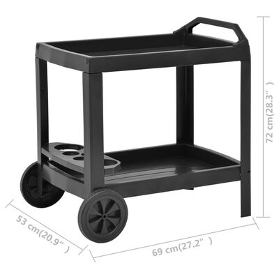 "vidaXL Beverage Cart Anthracite 27.2""x20.9""x28.3"" Plastic"