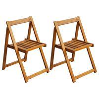 vidaXL Folding Garden Chairs 2 pcs Solid Acacia Wood