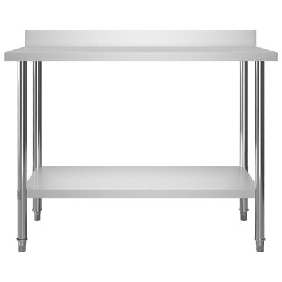"vidaXL Kitchen Work Table with Backsplash 47.2""x23.6""x36.6"" Stainless Steel"