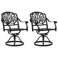 vidaXL Swivel Garden Chairs 2 pcs Cast Aluminum Black