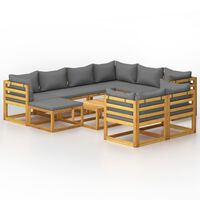 vidaXL 10 Piece Garden Lounge Set with Cushion Solid Acacia Wood