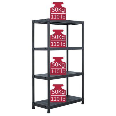 "vidaXL Storage Shelf Rack Black 440.9 lb 31.5""x15.7""x54.3"" Plastic"