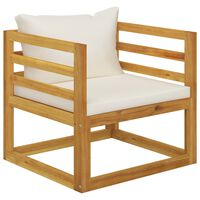vidaXL Garden Chair with Cream Cushions Solid Acacia Wood