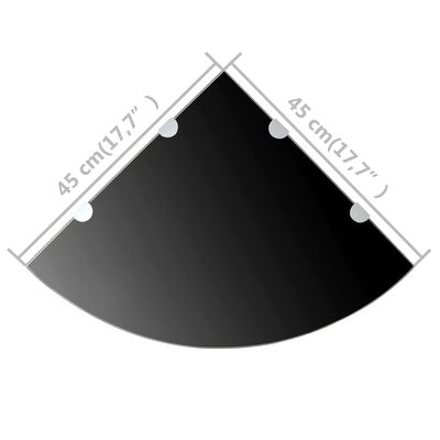 "vidaXL Corner Shelves 2 pcs with Chrome Supports Glass Black 17.7""x17.7"""