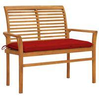 "vidaXL Garden Bench with Red Cushion 44.1"" Solid Teak Wood"