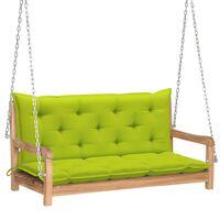 "vidaXL Swing Bench with Bright Green Cushion 47.2"" Solid Teak Wood"