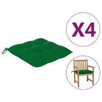 "vidaXL Chair Cushions 4 pcs Green 19.7x19.7""x2.8"" Fabric"""