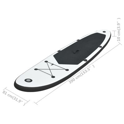 vidaXL Inflatable Stand Up Paddle Board Set Black and White