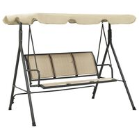 vidaXL Garden Swing Chair with Canopy Anthracite and Sand