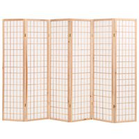 "vidaXL Folding 6-Panel Room Divider Japanese Style 94.5""x66.9"" Natural"