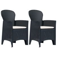vidaXL Garden Chairs 2 pcs with Cushion Anthracite Plastic Rattan Look