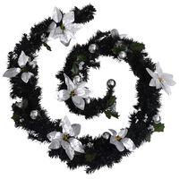 vidaXL Christmas Garland with LED Lights Black 8.9' PVC