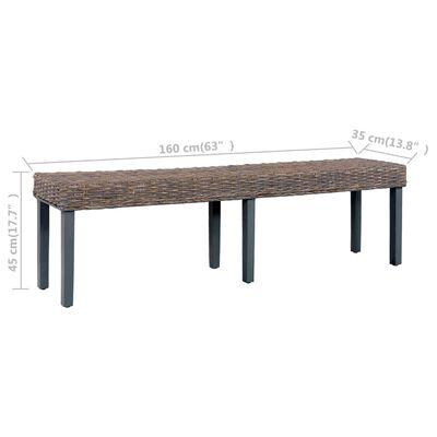 "vidaXL Bench 63"" Gray Natural Kubu Rattan and Solid Mango Wood"