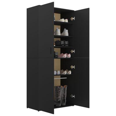 "vidaXL Shoe Cabinet Black 31.5""x15.4""x70.1"" Chipboard"