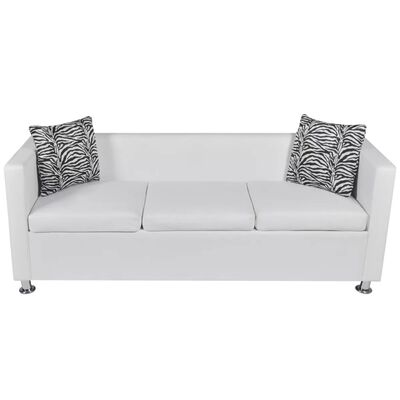 vidaXL Sofa 3-Seater Artificial Leather White