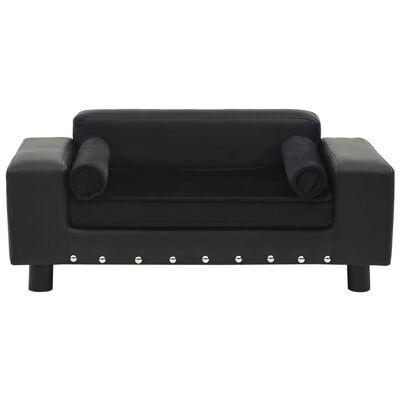 "vidaXL Dog Sofa Black 31.9""x16.9""x12.2"" Plush and Faux Leather"