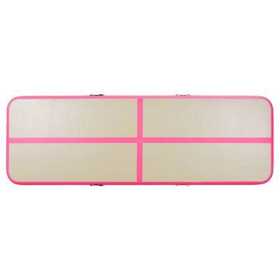 "vidaXL Inflatable Gymnastics Mat with Pump 157.4""x39.3""x3.9""  PVC Pink"