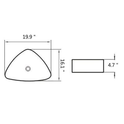 "vidaXL Basin Triangle Ceramic White 19.9""x16.1""x4.7"""