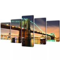 "Canvas Wall Print Set Brooklyn Bridge 39"" x 20"""