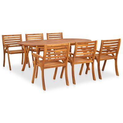 vidaXL 9 Piece Garden Dining Set Solid Acacia Wood