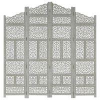 "vidaXL Hand carved 4-Panel Room Divider Gray 63""x65"" Solid Mango Wood"