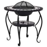 """vidaXL Mosaic Fire Pit Table Black and White 26.8"""" Ceramic"""