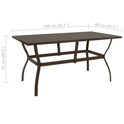 """vidaXL Garden Table Brown 55.1""""x31.5""""x28.3"""" Steel"""