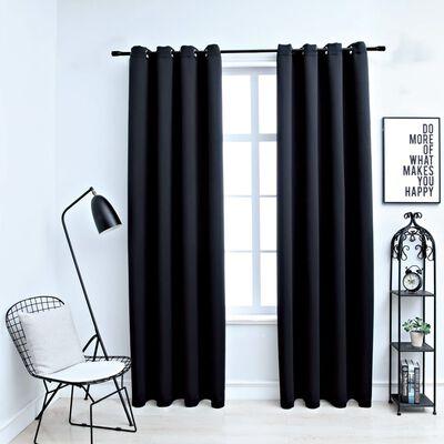 "vidaXL Blackout Curtains with Rings 2 pcs Black 54""x84"" Fabric"