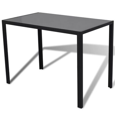 vidaXL Seven Piece Dining Table and Chair Set Black