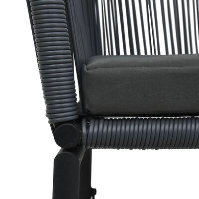 vidaXL 3 Piece Bistro Set with Cushions PVC Rattan Anthracite