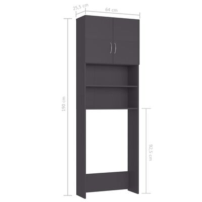 "vidaXL Washing Machine Cabinet Gray 25.2""x10""x74.8"" Chipboard"
