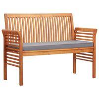 "vidaXL 2-Seater Garden Bench with Cushion 47.2"" Solid Acacia Wood"