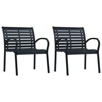 vidaXL Garden Chairs 2 pcs Black Steel and WPC