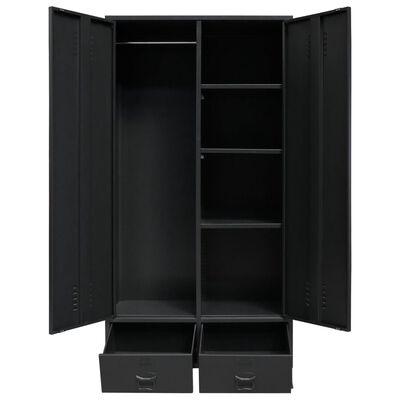 "vidaXL Wardrobe Metal Industrial Style 35.4""x15.7""x70.9"" Black"