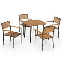 vidaXL 5 Piece Outdoor Dining Set Solid Acacia Wood and Steel