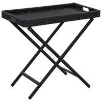 "vidaXL Folding Table Black 31.5""x17.7""x29.5"" Poly Rattan"