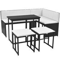 vidaXL 5 Piece Outdoor Dining Set Steel Poly Rattan Black
