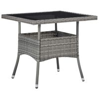vidaXL Outdoor Dining Table Gray Poly Rattan and Glass