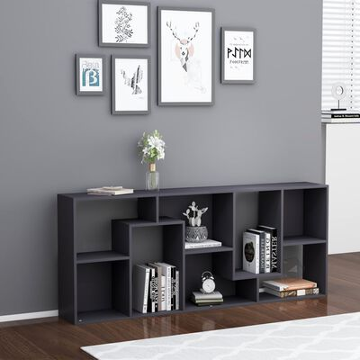 "vidaXL Book Cabinet Gray 26.4""x9.4""x63.4"" Chipboard"