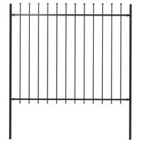 "vidaXL Garden Fence with Spear Top Steel 66.9""x59.1"" Black"